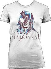 Madonna-MDNA Face + Logo Graphics-Large- Girl's Junior White  T-shirt