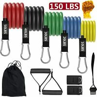 Resistance Bands Set Stackable Up to 150 lbs Muscle Building Workout Equipment