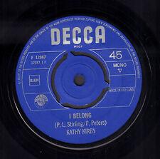 """KATHY KIRBY – I Belong (1965 VINYL SINGLE 7"""" HOLLAND)"""