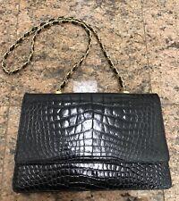 Vintage Finesse Black Crocodile Women's Chain Flap Shoulder Bag