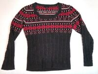 TOMMY HILFIGER Women's Sweater Large Dark Gray Pink Long Sleeve 100% Cotton L