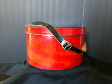 Vintage Hat Box Heavy Strong Cardboard Red Solid Swirl Leather Handle