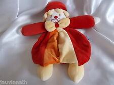 Doudou clown plat, rouge, orange et jaune, Sucre d'Orge