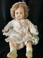 """R & B Composition Doll about 18"""" Sleepy Eyes Wavy Brown Hair, Pink Dress(b)"""