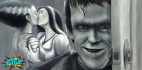 Lily & Bride of Frankenstein with HERMAN MUNSTER Painting - PAPA Art Gallery