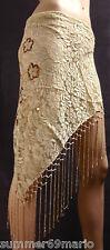 HÜFTTUCH STOLA DREIECKS-TUCH FRANSEN GOLD-BEIGE PAILLETTEN 137cm x 89cm (1)