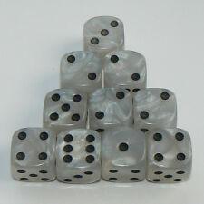 10 de blanc perle Dés-SIX FACES DICE SPOT, Taille 16mm-D6 RPG wargaming