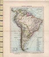 C1880 Vittoriano Mappa ~ Sud America ~ Con Argentina Republic Province