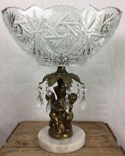 Crystal Bowl Brass two Cherub Putti Pedestal Marble Base Prism 13.5 x 13.75