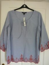 LONG TALL SALLY BLUE RED STRIPED EMBROIDERED TOP. UK 22, EUR 50, US 18. BNWT FAB