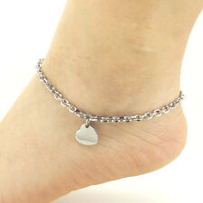 Stainless Steel Anklets Heart Charm Ankle Bracelet 9-11 Inches SSA102