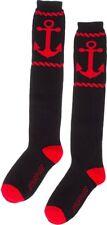 78559 Black & Red Anchor Rope Socks Knee High Roller Derby Punk Rock Sourpuss