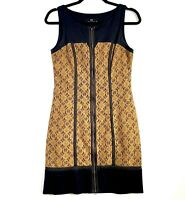 CUE Women's Size 8 Black Brown Sleeveless Zip Front Knee Length Sheath Dress