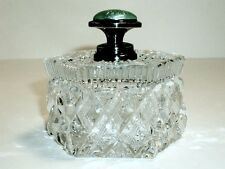 ENGLISH CUT GLASS GUILLOCHE & SILVER HANDLED DRESSER BOX