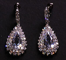 Timeless Treasure- Cubic Zirconia Droplet Blinging Chrome Earrings(Cl35)
