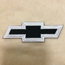 CHEVROLET CHEVY CAR LOGO EMBROIDERY IRON ON PATCH BADGE #BLACK WITH WHITE