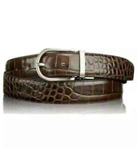 "New Tumi EMBOSSED EXOTIC Brown Genuine Leather  BELT Crocodile 15958 40"""