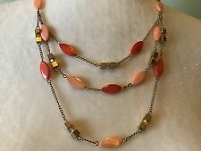 ~NWT!~$50~KENNETH COLE~3 STRAND SOFT ORANGE / CORAL SHELL NECKLACE~ MATTE GOLD~