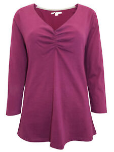 NEW  WHITE STUFF PLUM V Neck Ruched Jersey Tee Top 14 pure Cotton Jersey