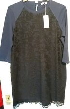 M & S Per Una Navy and Black Amethyst Lace Floral Shift Dress uk 16 Bnwt stretch