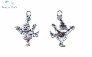 Tibetan Silver Dancing Snowman Christmas Charm Pendant 30mm (T131) Happy Smiley