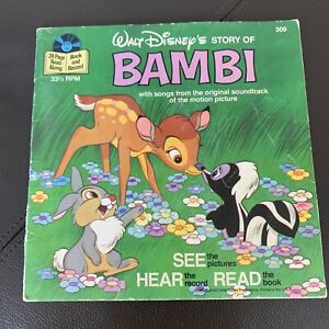 Vintage 77 Walt Disney 309 Story of BAMBI See Hear Read Book and 33 1/3 Record
