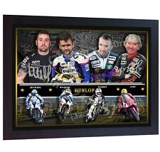 Joey Dunlop Robert Dunlop William Dunlop Michael Dunlop CANVAS signed FRAMED