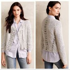 Anthropologie Knitted Knotted Woven Ribbon Asymmetrical Zip Front Cardi Multi M