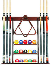 Cue Rack Only- 6 Pool Billiard Stick + Ball Set Wall Rack Holder