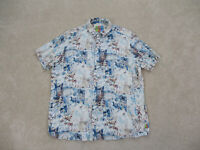 Margaritaville Button Up Shirt Adult 2XL XXL White Blue Jimmy Buffett Mens