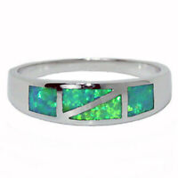 Lab Opal Ring Green Blue Fire Inlays 6mm Band 925 Sterling Silver Szs 4-10 +1/2