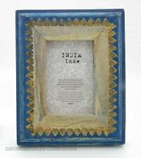 Photo Frame Natural and Blue Painted Chunky Wood With Brass Leaves India 4x6