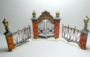 Grandeur Noel Victorian Village Brick Entry Gate Side Fences  2003 Replace IMP