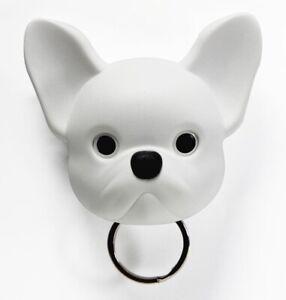 White French Bulldog Keyring Holder Qualy Frenchy Dog Wall Mounted Keychain Hook