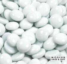 Vase Fillers, Glass Pebbles, Gem Stones. 24 bags (1-lb / bag). Color: White
