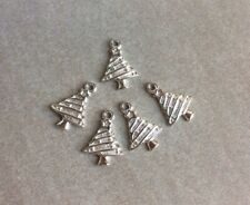 Antique Silver, Pretty Christmas Tree Charms, 19x12mm, 5pcs Jewellery Making