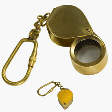 Brass HEART MAGNIFYING  Key Chain- Collectible Marine Nautical Key Ring (13)