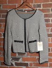 NWT! Margaret O'Leary Black White Stripped Zip Up Stunning Sweater Size M $265!