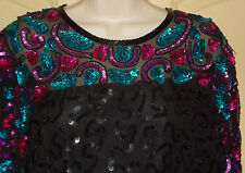 Stenay Silk Evening Dress Womens 14 Sequined Beaded Cocktail Knee Length 4g40