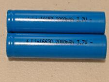 2 pc 16650 Li-ion RECHARGEABLE BATTERY 3.7v LITHIUM  2000mAh FLAT TOP (2 PCS)