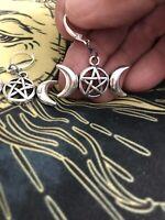 Tibetan Silver Triple Goddess Pentagram Moon Lever Back Earrings Wicca Fashion