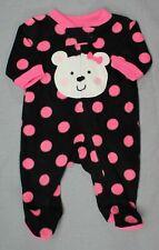 Baby Girl Clothes Child Mine Carter's Preemie Pink Bear Fleece Footed Sleeper