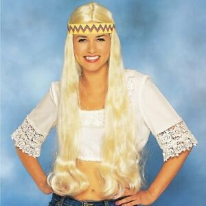 OS 60s 70s Franco Hippie with Headband Blonde Wig Adult Fancy Dress Costume Wig