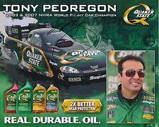 Tony Pedregon NHRA Autographed 8x10 Photo