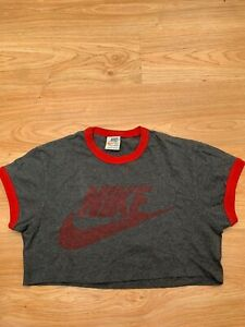 Womens Ladies VTG Nike Cropped Crop Short Sleeve T-Shirt in Grey Size M/L / 99p