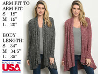 USA MADE WOMENS STRETCHY LONG SLEEVE RIBBED KNIT SWEATER CARDIGAN