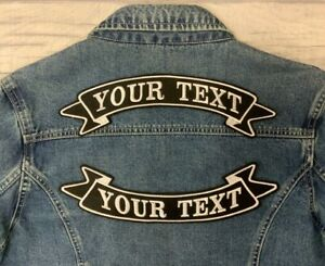 """11 3/4"""" TOP & BOTTOM RIBBON PATCH BIKER PERSONALISED SEW ON EMBROIDERED PATCHES"""