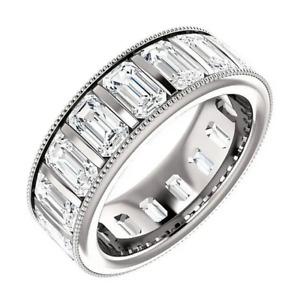 6.30CT Emerald Cut Cubic Zirconia In Sterling Silver Men's Elegant & Classy Ring