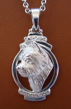Sterling Silver Norwich Terrier Head Study On A Vertical Oval Frame Pendant