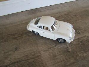Rare and Vintage 1961 Porsche 356 B Coupe White 1/18 Diecast Car - Burago Italy